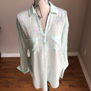 Aerie Long Sleeve Mint Green Tunic Button Up M